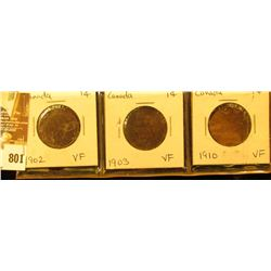 Lot Canada Large Cents: 1902, 1903, 1910. All grading VF.
