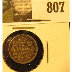 1899 Canada Five Cent Silver, Very Fine.