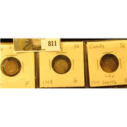 Lot Canada Five Cent Silvers: 1904 Fine, 1908 Good, & 1910 Holly leaves Good.