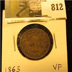 1865 Newfoundland 20c Piece, VF.