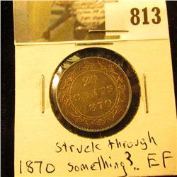 1870 Newfoundland 20c Piece, EF, but struck through something.