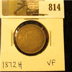1872H Newfoundland 20c Piece, VF.