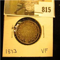 1873 Newfoundland 20c Piece, VF.