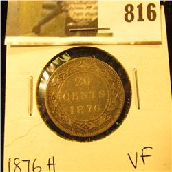 1876H Newfoundland 20c Piece, VF.