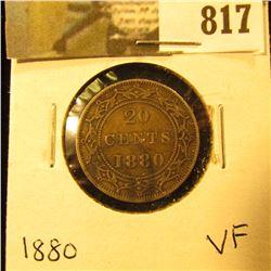 1880 Newfoundland 20c Piece, VF.