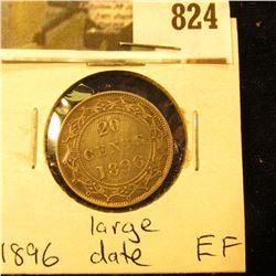 1896 Newfoundland 20c Piece, EF, Large Date Variety.