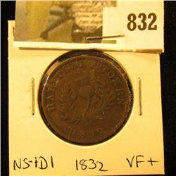 1832 Nova Scotia Half Cent Token, Very Fine+, Charlton NS-1D1
