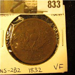 1832 Nova Scotia Half Cent Token, Very Fine, Charlton NS-2B2
