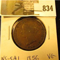 1856 Nova Scotia Half Cent Token, VG, Charlton NS-5A1