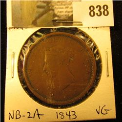 1843 New Brunswick One Cent Token, VF, Charlton NB-2A.