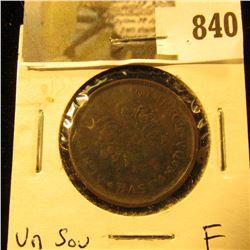Lower Canada Un Sou token, Fine, Charlton LC-32B.