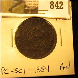 1854 Bank of Upper Canada Half Penny Token, AU, Charlton PC-5C1.