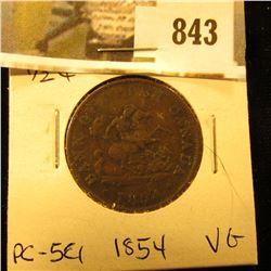 1854 Bank of Upper Canada Half Penny Token, VG PC-5C1.