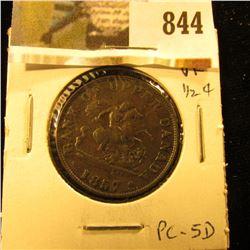 1857 Bank of Upper Canada Half Penny Token, VF, Charlton PC-5D.