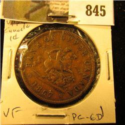 1857 Bank of Upper Canada Half Penny Token, VF, Charlton PC-6D.
