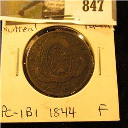 1844 Bank of Montreal Half Penny Token, Fine, Charlton PC-1B1.