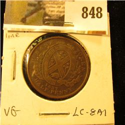 1837 City Bank Half Penny Token, VG, Charlton LC-8A1