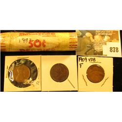 1993 D Solid Date Roll of BU Lincoln Cents; (2) 1909 P & (1) 1909 P VDB Lincoln Cents.