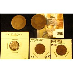 (3) Large Cent size old Coppers; 1851 Seated Liberty Half Dime; & a pair of 1909 P VDB Lincoln Cents