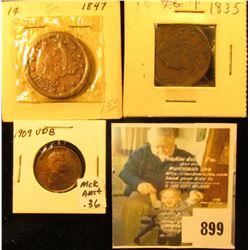 1835 & 1847 U.S. Large Cents, both G-VG; & 1909 P VDB, EF.