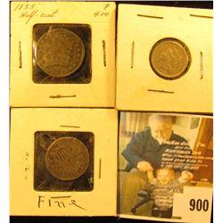 1833 U.S. Half Cent; 1865 U.S. Three Cent Nickel, F-VF; & 1869 U.S. Shield Nickel, dark.