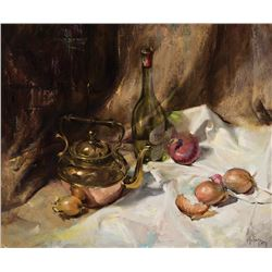 Clark Hulings -Still Life with Wine and Onions, 1971