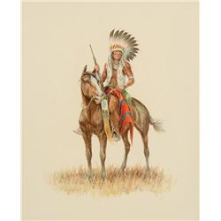 Olaf Wieghorst -Indian on Horse Looking Left