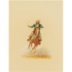Olaf Wieghorst -Cowboy Roping on Horseback