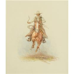 Olaf Wieghorst -Full Speed - Cowboy on Galloping Horse