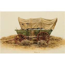 James Bama -Conestoga Wagon, Wyoming Centennial Ride 1990