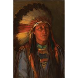 Joseph H. Sharp -Indian in a War Bonnet