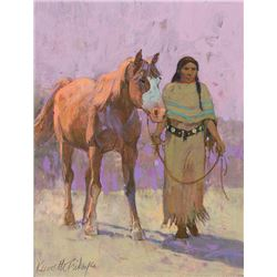 Kenneth Riley -Indian Woman Leading a Horse