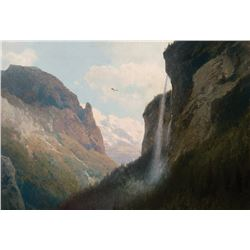 Hermann Herzog -Mountain Top Waterfall