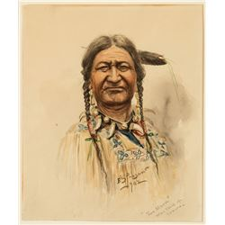 "Edgar S. Paxson -""Two Moon"" War Chief of the Crow"