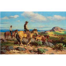 Olaf Wieghorst -Driving Wild Ponies