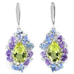 NATURAL QUARTZ TANZANITE AMETHYST Earrings