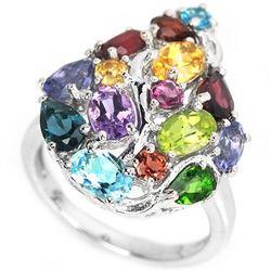 Natural TOPAZ AMETHYST RUBY RHODOLITE & PERIDOT Ring
