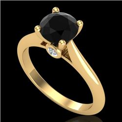 1.36 CTW Fancy Black Diamond Solitaire Engagement Art Deco Ring 18K Yellow Gold - REF-89A3X - 38208