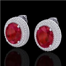 9.20 CTW Ruby & Micro Pave VS/SI Diamond Earrings 18K White Gold - REF-190W2F - 20232