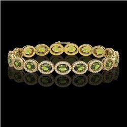 13.87 CTW Tourmaline & Diamond Halo Bracelet 10K Yellow Gold - REF-271Y6K - 40474