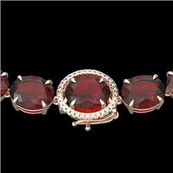 145 CTW Garnet & VS/SI Diamond Halo Micro Eternity Necklace 14K Rose Gold - REF-455H6A - 22296