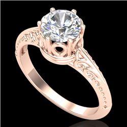 1 CTW VS/SI Diamond Art Deco Ring 18K Rose Gold - REF-361Y8K - 37251