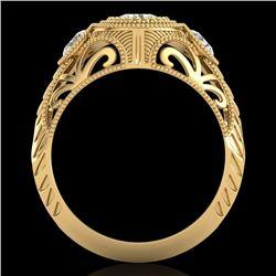 1.06 CTW VS/SI Diamond Solitaire Art Deco 3 Stone Ring 18K Yellow Gold - REF-180T2M - 36895