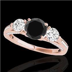 1.75 CTW Certified VS Black Diamond 3 Stone Ring 10K Rose Gold - REF-107Y5K - 35353