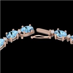 37.5 CTW Aquamarine & VS/SI Certified Diamond Eternity Necklace 10K Rose Gold - REF-425X5T - 29417