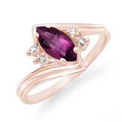 0.48 CTW Amethyst & Diamond Ring 10K Rose Gold - REF-12F5N - 12792
