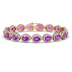 16.76 CTW Amethyst & Diamond Halo Bracelet 10K Rose Gold - REF-274F4N - 41130
