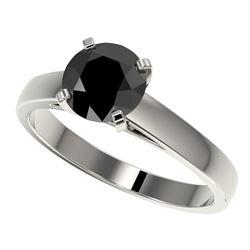 1.50 CTW Fancy Black VS Diamond Solitaire Engagement Ring 10K White Gold - REF-36M3H - 33022