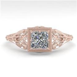 0.50 CTW VS/SI Princess Diamond Solitaire Engagement Ring Deco 18K Rose Gold - REF-113W8F - 36023