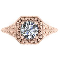 1 CTW Solitaire Certified VS/SI Diamond Ring 14K Rose Gold - REF-289W6F - 38527
